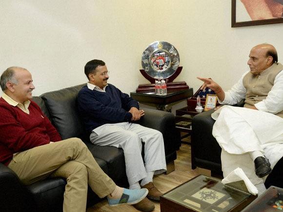 Arvind Kejriwal, Home Minister of India, Rajnath Singh,  Manish Sisodia