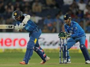 Sri Lanka' s Dinesh Chandimal bats during their first Twenty20 cricket match against India in Pune