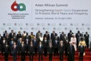 Asian and African leaders pose for a group photo during the Asian African Summit in Jakarta