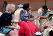 Sushma Swaraj in discussion with her South African counterpart Maite Nkoana-Mashabane and Swedish Foreign Minister Margot Wallström