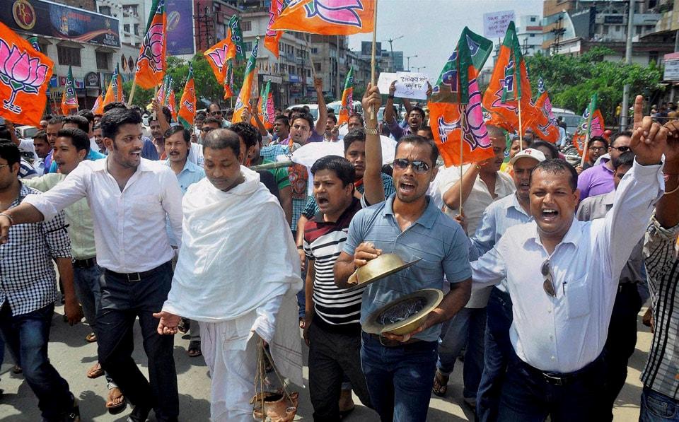 Activists,  Akhil Bharatiya Vidyarthi Parishad, (ABVP), mock, funeral, procession, Congress, government