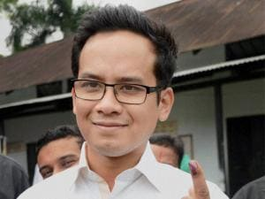 Congress MP from Kaliabor Lok Sabha Constituency Gaurav Gogoi shows his mark after casting vote for the 1st phase of Assam Assembly election, at Jorhat district of Assam