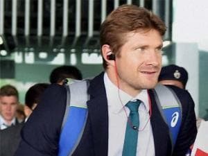 Australian cricketer Shane Watson arrives at NSCBI Airport for the T 20 World Cup match in Kolkata