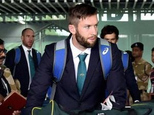 Australian cricketers arrive at NSCBI Airport for the T 20 World Cup match in Kolkata