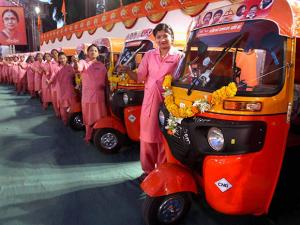 Women who were distributed 25 auto rickshaws by Shiv Sena chief Uddhav Thackeray