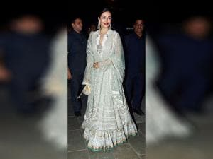 Malaika Arora Khan arrives to attend  Amitabh Bachchan's Diwali party