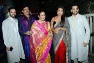 Bollywood actor Shatrughan Sinha with his wife Poonam Sinha, daughter Sonakshi Sinha and sons Luv Sinha and Kush Sinha