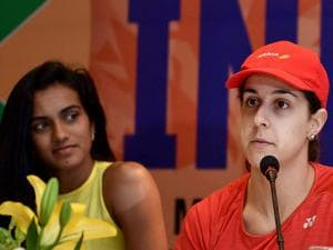 Carolina Marin of Spain speaks as Rio Olympics silver medalist, World no. 5,  P V Sindhu