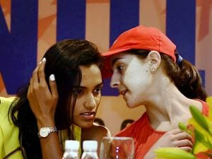 P V Sindhu and World no. 4, Carolina Marin of Spain during the press conference