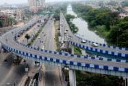 City streets wear a deserted look after political parties called 'Bangla Band' to protest against the state government