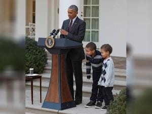 President Barack Obama's nephews Austin and Aaron Robinson