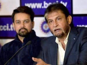 BCCI secretary Anurag Thakur with BCCI chief selector Sandeep Patil addressing the media