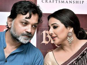 Vidya Balan with director Srijit Mukherji during the promotion of their upcoming film 'Begum Jaan'