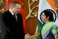 Sushma Swaraj with Vladimir Makei, Minister of Foreign Affairs of Belarus
