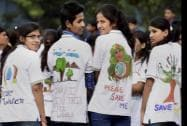 Students take part in the Save Enviornment- Save Earth- Save Water awareness rally at Freedom Park