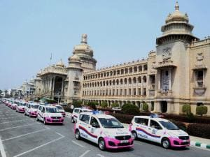 A fleet of 'Pink Hoysala' Police cars, especially for women safety in Bengaluru