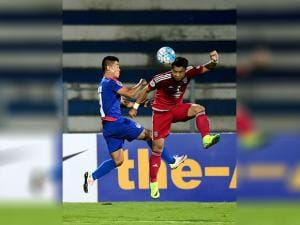 Bengaluru FC Captain Sunil chhetri and Johor Darul TA'ZIM (MAS) players in action