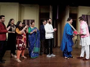 Bachchan was the chief guest while Sinha played the lead role in the play