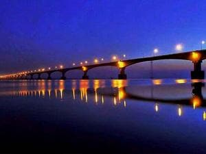 A view of the country's longest Dhola-Sadia bridge over Lohit river in Assam