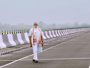 Prime Minister Narendra Modi at the newly inaugurated Dhola-Sadia bridge
