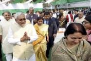 JD(U) senior leader Nitish Kumar with other MLA's during a lunch party