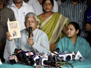 RJD Chief Lalu Prasad Yadav along with his daughter Misa Bharti