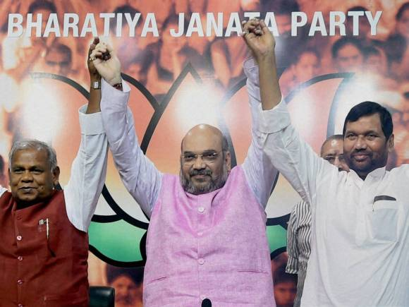 Amit Shah, Jitan Ram Manjhi, Ramvilas Paswan, Upendra Kushwaha, Bihar Election 2015, Bihar Assembly Elections, Bihar Vidhan Sabha election, Bihar