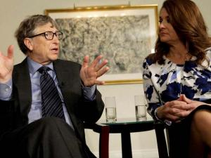 Bill and Melinda Gates talk to reporters about the 2016 annual letter from their foundation, the Bill and Melinda Gates Foundation, in New York