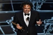 "Alejandro G. Inarritu accepts the award for best director for ""Birdman"