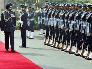Air Chief air marshal Birender Singh Dhanoa takes guard of honour