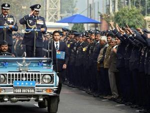 Outgoing Air Chief Marshal Arup Raha being sent off by colleagues