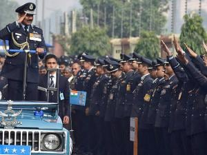 Outgoing Chief of Air Staff Air Chief Marshal Arup Raha being sent off by colleagues
