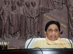 Bahujan Samaj Party (BSP) supremo Mayawati addressing a press conference at her residence in Lucknow