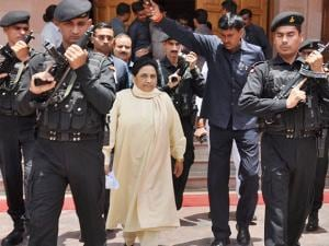 Bahujan Samaj Party (BSP) supremo Mayawati coming out of her residence after addressing a press conference