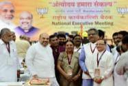 Amit Shah with Gujarat CM Anandiben Patel