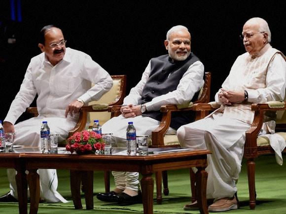 Narendra Modi,  Rajnath Singh, L K Advani