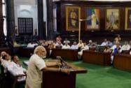 Modi addresses BJP MPs in Parliament