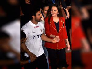 Nita Ambani and actor John Abraham during inaugural ceremony of  the 3rd edition of Indian Super League 2016 (ISL)