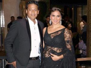 Actor Lara Dutta with husband Mahesh Bhupathi at the wedding reception of Preity Zinta and Gene Goodenough, in Mumbai