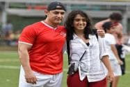 Bollywood actor Aamir Khan with his son Junaid and daughter Ira during a charity football match in Mumbai
