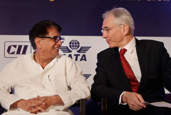Union Minister for Civil Aviation Ajit Singh with International Air Transport Association (IATA) Director General & CEO Tony Tyler