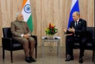 Prime Minister Narendra Modi with Russian President, Vladimir Putin during a meeting at Fortaleza in Brazil on Tuesday