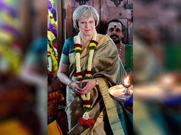 Saree, Sari, Theresa May, saari, Someshwara temple, Brithish Prime Minister, England