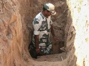 A BSF jawan inspecting a 30-metre-long tunnel from Pakistan to the Indian side that was detected by the Border_Security Force at Allah-Mai-Di-Kothi BoP in Jammu