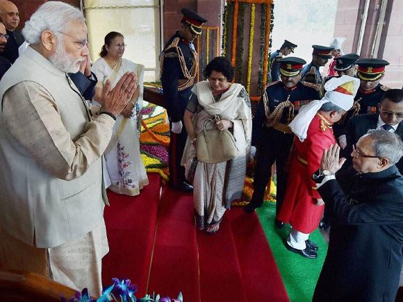 President of India, Pranab Mukherjee, Prime Minister of India, Narendra Modi, Lok Sabha, Central Hall
