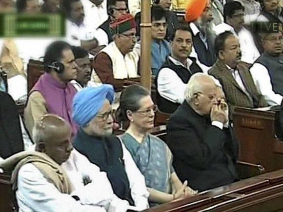 Manmohan Singh, Sonia Gandh, President of India, Pranab Mukherjee, Prime Minister of India, Narendra Modi, Lok Sabha, Central Hall