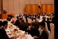 Prime Minister Narendra Modi with business leaders at a luncheon