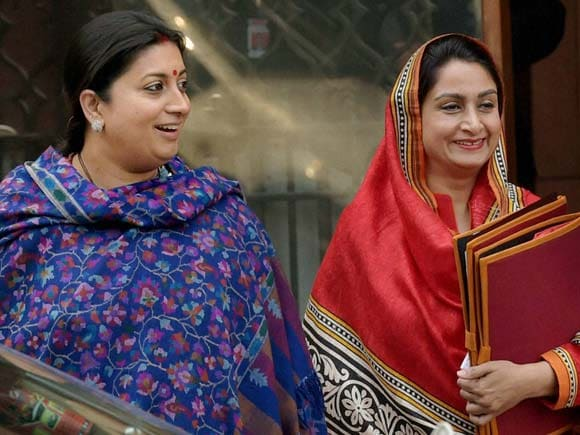 Smriti Irani,Harsimrat Kaur Badal, Union Ministers, Cabinet meeting, New Delhi
