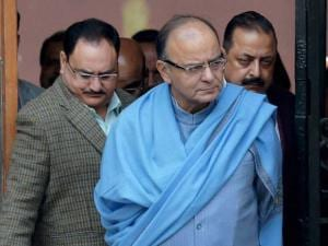 Arun Jaitley, J P Nadda and Jitendra Singh after a Cabinet meeting
