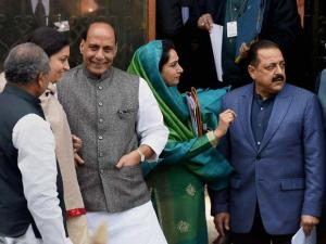 Union Ministers Rajnath Singh, Smriti Irani, Narendra Singh Tomar, Harsimrat Kaur, Jitendra Singh and Piyush Goyal after a Cabinet meeting